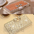 Luxury Bling Bowknot Crystal Stand Wallet Leather Case Cover For iPhone Samsung