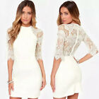 2015 New Hot Women Sexy Sheer Back Lace Dress Evening Cocktail Party Mini Dress
