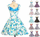 Vintage Rockabilly Floral Print Retro Swing 50s 60s pinup Housewife Party Dress