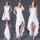 HOT HIGH-LOW Cocktail Prom Dresses Bridesmaid Formal Evening WHITE CLUBWEAR 10+