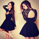 New Womens Long Sleeve Hollowed Back Lace Summer Casual Cocktail Ball Gown Dress