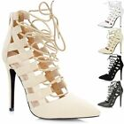 Ladies Cut Out Lace Up High Heel Strappy Pointed Toe Sandals Shoes Ankle Boot