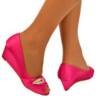NEW WOMENS FUSCHIA PEEPTOE DIAMANTE PARTY WEDGE PROM BRIDESMAID BRIDAL SHOES