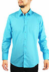 New Slim Fit Amanti Mens Teal  Blue Solid  Dress Shirt