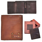 Mens Vintage Leather Small Bi-fold Organiser Wallet / Tan