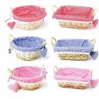 23cm Round / 25cm Rectangular Gingham Cloth Lined Wicker Basket with Heart