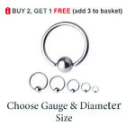 Ball Closure Ring BCR Captive Bead Hoop Steel Nose Eyebrow Septum Lip 6mm -16mm