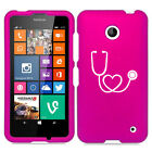 For Nokia Lumia 630 635 Rubber Hard Case Cover Heart Stethoscope Nurse
