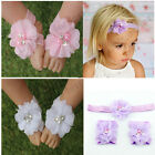 Crystal 2pc Baby Girl Flower Barefoot Sandals + Headband Set for Baby Girls