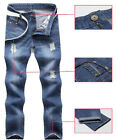 New Korean Men's Stylish & Slim Fit Scratched Denim Jeans Skinny Trousers Pants
