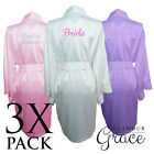 3 PACK Bridal Wedding Bride Bridesmaid Dressing Gowns Satin Robes Personalised