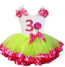 Lime Hot Pink Satin Trimmed Tutu Polka Dots 3rd Cupcake Birthday Party Dress