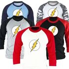 Mens DC Comics Superhero The Flash 3/4 Sleeve Raglan Baseball Tshirts Jersey Top