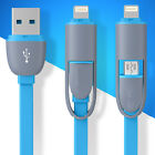 2in1 MICRO USB LIGHTNING SYNC DATA CABLE USB CHARGER For iPhone 5 6 Galaxy S5 S6