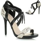 Ladies Women Cut Out Lace Up High Heel Strappy Gladiator Sandals Shoe Ankle Boot