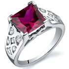 V Prong Princess Cut 3.25 cts Ruby CZ Ring Sterling Silver Sizes 5 to 9