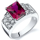 Radiant Cut 3.00 cts Ruby CZ Ring Sterling Silver Sizes 5 to 9