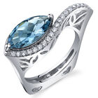 2.00 cts Marquise Cut London Blue Topaz Ring Sterling Silver Size 5 to 9
