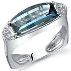 Radiant 3.00 cts Barrel Cut London Blue Topaz Ring Sterling Silver Size 5 to 9