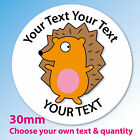30mm Personalised stickers 'Hedgehog' schools, party bags, thank you, rewards