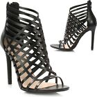 Ladies Women Cut Out Caged High Heel Strappy Peep Toe Sandals Shoes Ankle Boot