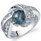 Mystic Divinity 1.50 cts London Blue Topaz Ring Sterling Silver Size 5 to 9