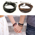 Women/Men Surfer Tribal Wrap Multilayer Genuine Leather Cuff Bracelet 2 colors