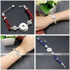 1pc Cord Leather Crystal Buckle Bracelet Bangle Single Snap Fit Charm Button DIY