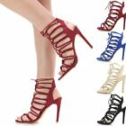 Ladies Women Cut Out Lace Up High Heel Less Strappy Peep Toe Sandals Court Shoes