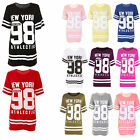 Womens Ladies USA American Varsity Baseball Oversize Baggy T Shirt Top Plus...