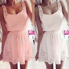 Chiffon Sexy Hollow-out Summer Beach Sleeveless Party Cocktail Casual Mini Dress