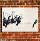 BANKSY IMMIGRANT BIRDS  CANVAS WALL ART BOX PRINT PICTURE SMALL/MEDIUM/LARGE