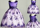 Purple Lace Floral Holiday Wedding Birthday Party Pageant Flower Girl Dress 11