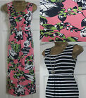 NEW EX MAINE DEBENHAMS SUN SUMMER MIDI MAXI DRESS PINK FLORAL NAVY STRIPE 10-24