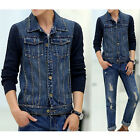Casual Men long Sleeve  Blue Jean Jacket Slim  Denim jackets