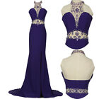 PLUS SIZE Sexy Beaded Mermaid Long Prom Bridesmaid Dresses Formal Evening Gown