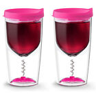 Vino Cup With No Splash Closure & Removable Corkscrew- Set of 2