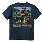 New! Buck Wear Redneck Fishfinder Mens Cotton T-Shirt Funny Fishing Tee Blue