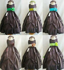 Adorable Brown Sage Teal Emerald Kelly green taffeta flower girl dress all sizes