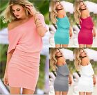VICTORIAS Off The Shoulder Sexy Ruched Tee Dresses Tunic Sundress XS S M L XL
