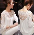New Arrive Women Fashion Floral Lace Long Casual Blouse Long Sleeve Tops T-Shirt