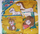 VINTAGE 60s RABBIT CAT GIRL HORSE COTTON FABRIC HANDMADE MAKE UP COIN PURSE E72
