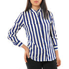 WirdBirds Women's Stand Collar Stripe Print Top Shirt Blouse