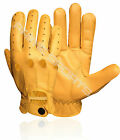 REAL SOFT LEATHER MEN'S UNLINED DRIVING GLOVES STYLISH FASHION YELLOW 507
