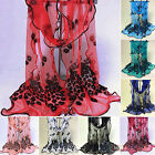 Women Peacock Lace Flower Scarf Long Soft Shawl Wrap Pashmina Stole Embroidered