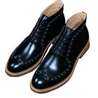 Men Calfskin Leather Casual Lace Up Business Brogue Boots Rivet Chukka Shoes