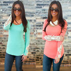 1x Fashion Womens Long Sleeve Lace Tops O Neck Summer Casual Shirt Blouse GBW