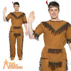 Adult Red Indian Brave Costume Mens Fancy Dress Native Western Outfit New
