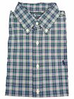Polo Ralph Lauren Mens Dress Shirt Button Down Plaid Navy Green White Pony NWT