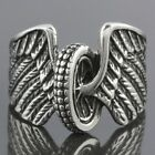 Men's Stainless Steel Flying Casting Motorcycle Bike Wheel Wings Ring Size 9-13